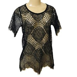 For Love & Lemons sheer lace loose blouse top XS